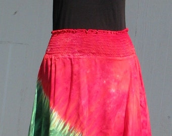 Tie Dye Hankie Hem Hobo Skirt in Watermelon