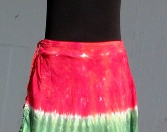Tie Dye Short Wrap Skirt in Watermelon
