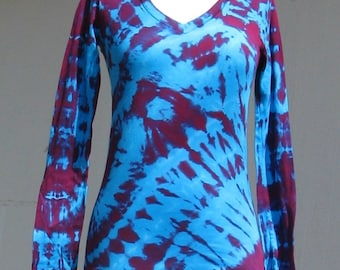Tie Dye Shirt in Turquoise and Fuchsia with Long Sleeves