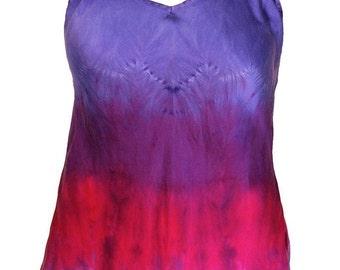 Tie Dye Silk Camisoles in Purple and Fuchsia