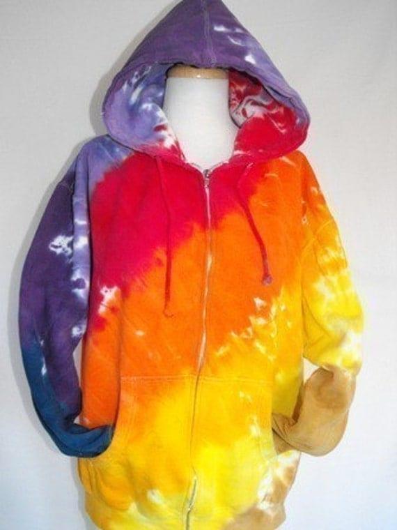 Tie Dye Zip Hoodie in Sunset Rainbow