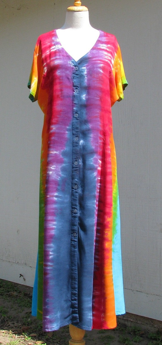 Tie Dye Dress with Button Front  in Vertical Rainbow Stripes