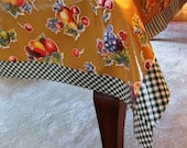 Chalkydoodles LARGE CUSTOM Oilcloth Tablecloth with EXTRA-WIDE Oilcloth Border