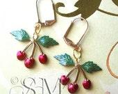 Vintage Cherries - charm earrings