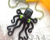 Sinister Black Lego Octopus - kitsch toy necklace, goth gothic ocean monster