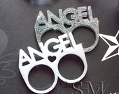 Angel - CHOOSE white or snowflake glitter, laser cut acrylic double ring, rainbow kitsch