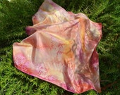 Silk Scarf, Square, Hand Painted in Peach, Orange, Pink, and Yellow