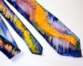 Hand Painted Silk Tie in Orange, Blue, Green, Dusty Rose