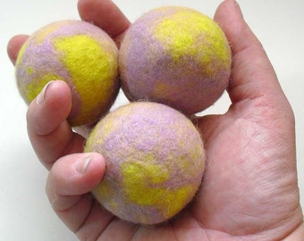 Juggling Balls, Lavendar and Yellow Wool Felt