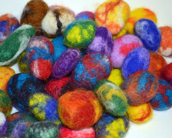 A Set of Seven Fairy Stones: hand felted wool covered rocks for imaginative play