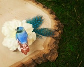 Bird and feather hair piece white and blue