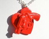 Neon Gun Heart Necklace on silver chain