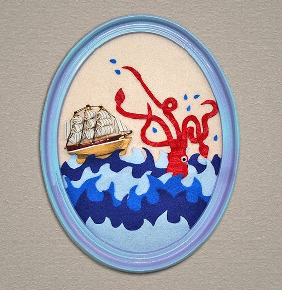 Nautical Wall art We Both Go Down Together featuring giant squid and mini pirate ship