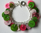 Pink and Green Button Bracelet