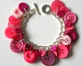 Button Charm Bracelet Hot Pink Mix