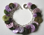 Button Charm Bracelet Moss Green and Muted Lilac Purple