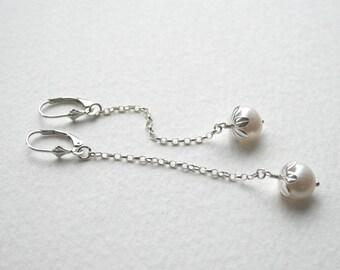Sterling Silver Freshwater Pearl Flower Earrings Simple Elegant