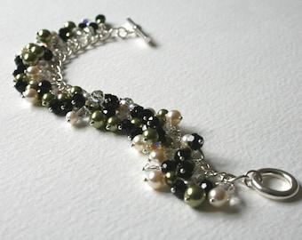 Sterling Silver Charm Bracelet Swarovski Crystal Absinthe Green