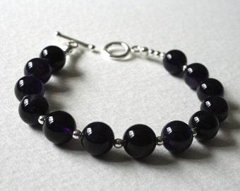 Sterling Silver Bracelet Large Deep Purple Amethyst Beads