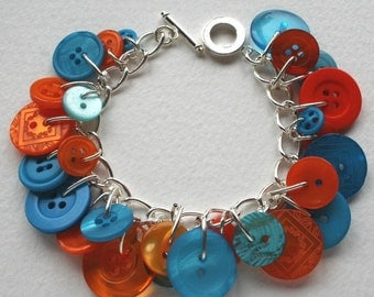 Button Charm Bracelet Orange and Aqua