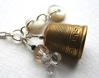 Vintage Thimble Sterling Silver Antique Button Charm Necklace Greek Key
