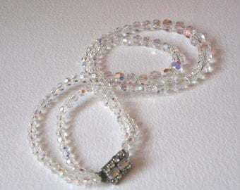 Vintage Glass Bead AB Graduated Two Strand Necklace Hollywood 50s Glamour