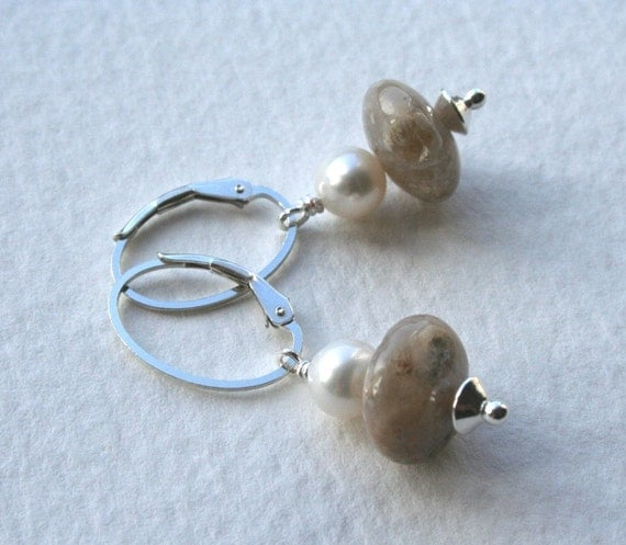 Italian Stone and Pearl Sterling Silver Earrings