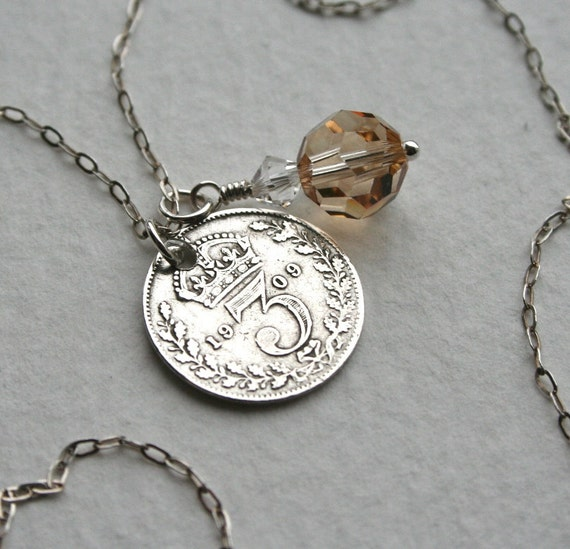 Silver Edwardian 3 Pence Coin and Crystal Charm Necklace