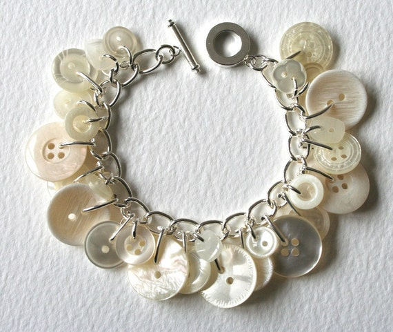 Button Charm Bracelet White Pearly Cream