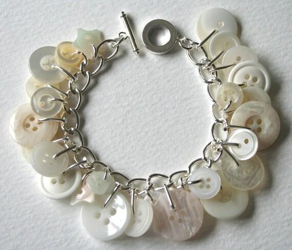 Button Charm Bracelet Snowy White Creamy Pearly