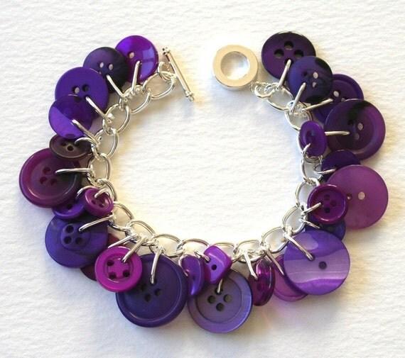 Button  Charm Bracelet Lush Royal Purple