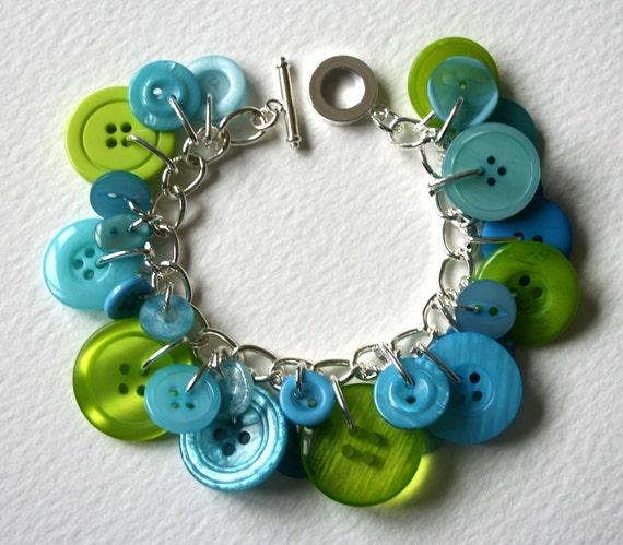 Button Bracelet Lime and Aqua Tropical Splash