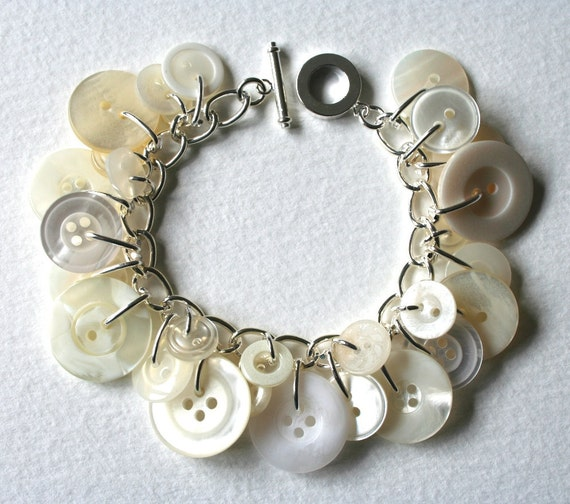 Button Bracelet Crisp Snowy White