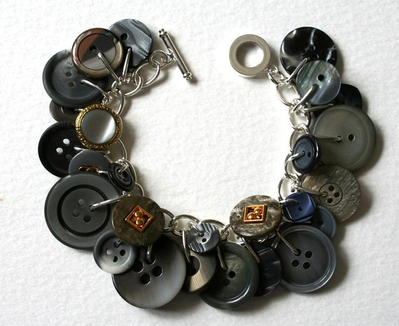 Silvery Moon Button Bracelet