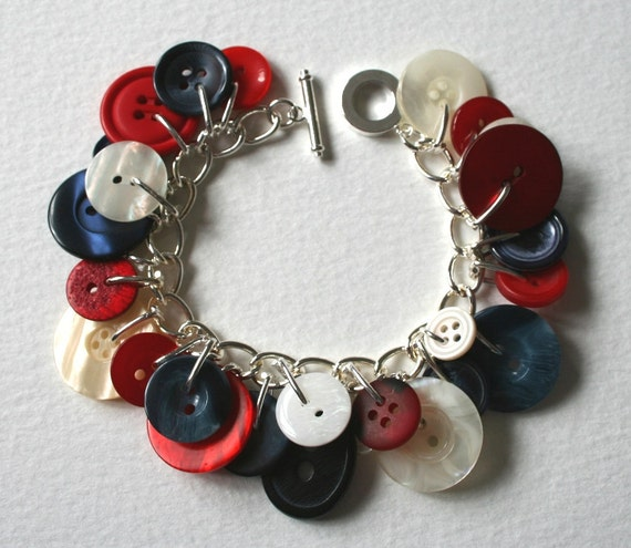 Button Charm Bracelet Royal Jubilee Red Navy and Pearl