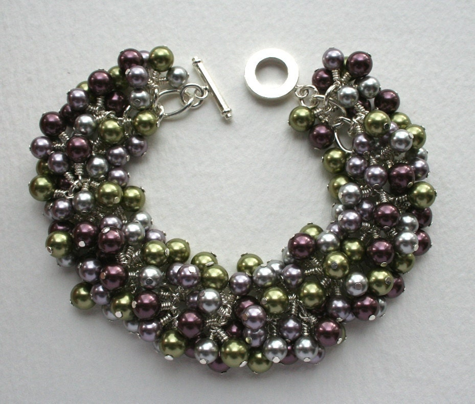 Glass Pearl Charm Bracelet Muted Purple Green And Silver