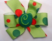 Personalized Initial Hairbow--Lime Christmas Bubbles Big Bow Clip