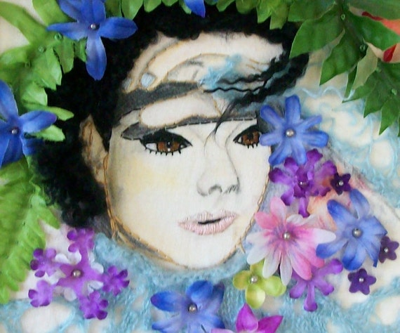 RESERVED FOR REBECCA Bjork hand embroidered portrait with flowers