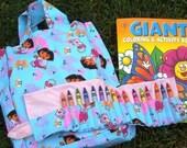 Dora on blue crayon roll set