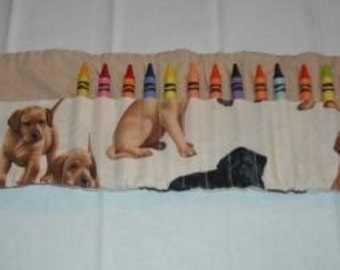Puppies crayon roll