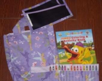 Tinkerbell little artist set (crayon roll, chalk mat, and tote)