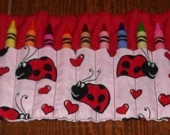 I heart ladybugs crayon roll