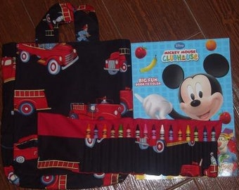 Fire Engines Crayon Roll Set
