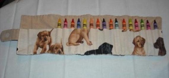 Puppies crayon roll