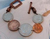 Long Live The Queen-Vintage Coin Link Bracelet