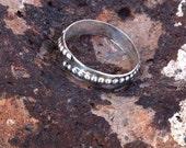 Mens Sterling Silver Stud Ring- HandMade Bohemian Gypsy Style