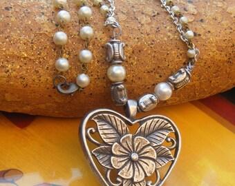 Bohemian Gypsy Large Filigree Heart Necklace