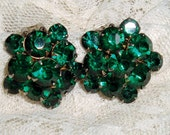 Christmas Green Rhinestone Earrings Emerald Color Vintage