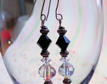 Faceted Jet Black Bead and AB Crystal Dangle Earrings, Sterling Silver Ear Wires, Ladies Handmade Earrings, Jet and Crystal Dangle earrings