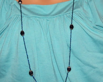 Long Beaded Necklace, 54 inch Flapper Length Necklace, Blue Goldstone w Seed Beads,